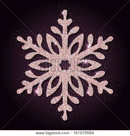 Pink Golden Glitter Breathtaking Snowflake. Luxurious Christmas Design Element, Vector Illustration.