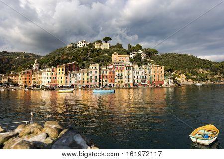 The harbor of Portofino with the colorful houses. Genova Liguria Italy