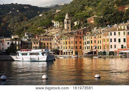 The village of Portofino with harbor and colorful houses. Genova Liguria Italy