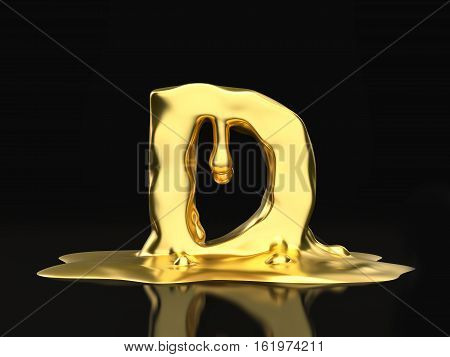 Liquid Gold Letter D 3D Illustration