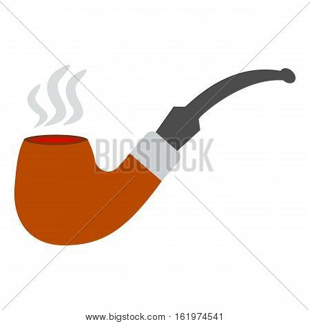 Tobacco smoking pipe. Vector. Classic hipster smoke pipe in flat style. Vector illustration isolated on white background