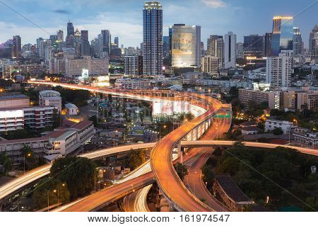 City downtown background and highway interchanged, Bangkok Thailand