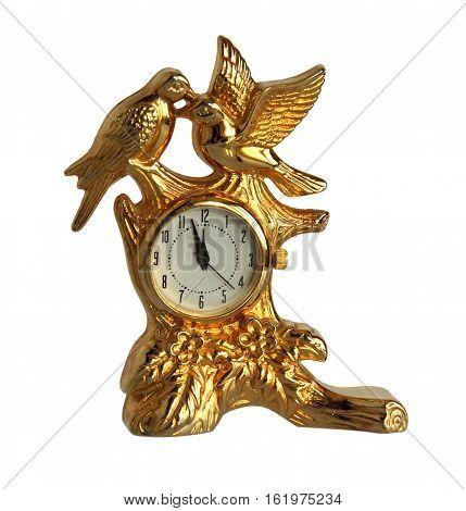 Birds retro gilded clock isolated on white background