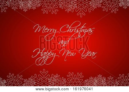 Merry Christmas and Happy New Year background greetings card with snowflakes vector illustration