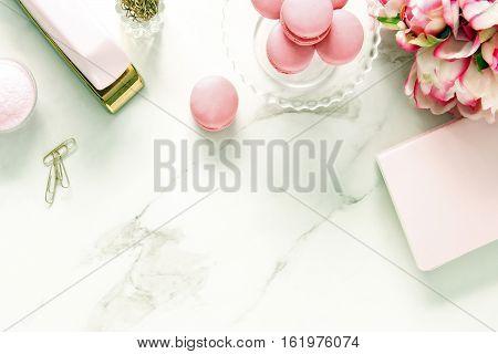 Chic pink elegant spring desktop with space for copy.