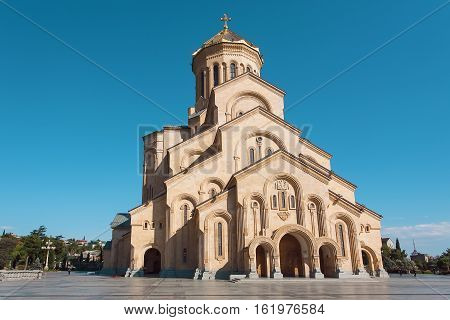 TBILISI, GEORGIA - SEP 27, 2016: Sameba - the big structure of Holy Trinity Cathedral of the Georgian Orthodox Church on September 27, 2016. The cathedral was built in 2004 with nine chapels and narthex