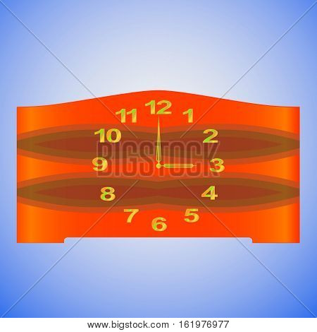 Old-fashioned table clock with gold digits and redwood clock face. Isolated on a blue background. Vector.