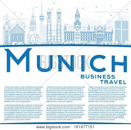 Outline Munich Skyline with Blue Buildings and Copy Space. Vector Illustration. Business Travel and Tourism Concept with Historic Architecture. Image for Presentation Banner Placard and Web Site.