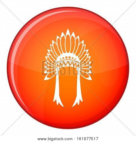 Indian headdress icon in red circle isolated on white background vector illustration