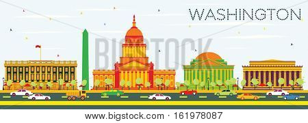 Washington DC Skyline with Color Buildings and Blue Sky. Vector Illustration. Business Travel and Tourism Concept with Historic Architecture. Image for Presentation Banner Placard and Web Site.