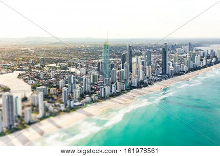SURFERS PARADISE, AUS - SEPT 04 2016 Aerial view of Surfers Paradise on the Gold Coast, Queensland, Australia