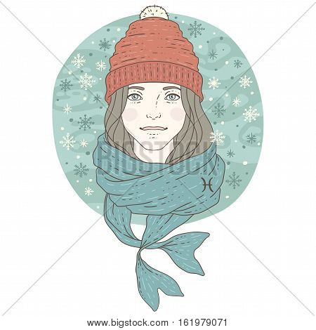 Pisces zodiac sign. Winter season illustration. Vector illustration isolated on white.