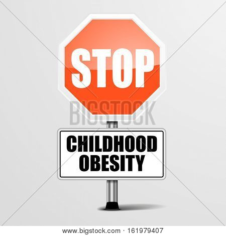 detailed illustration of a red stop Childhood Obesity sign, eps10 vector