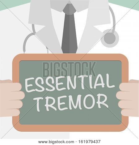 minimalistic illustration of a doctor holding a blackboard with Essential Tremor text, eps10 vector