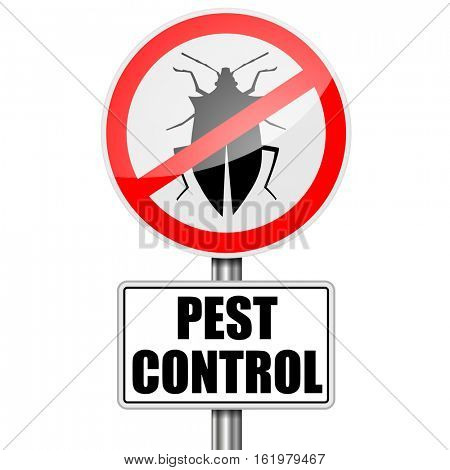 detailed illustration of a red Pest Control sign, eps10 vector
