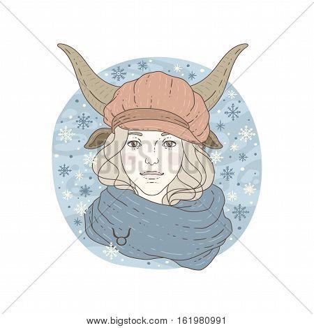 Taurus zodiac sign. Winter season illustration. Vector illustration isolated on white.