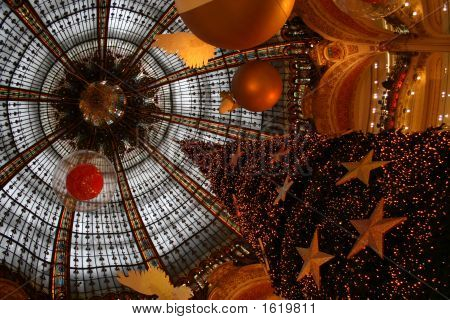Dome during Christmas at Galeries Lafayette Paris France poster