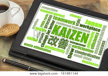 Kaizen - Japanese continuous improvement concept - word cloud  on a digital tablet with a cup of coffee