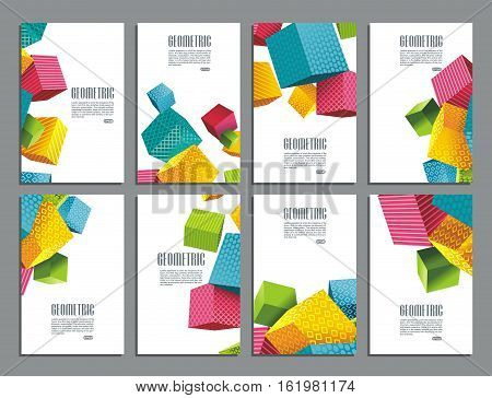 Flyers abstract geometric style with color cubes corporate vector layouts.