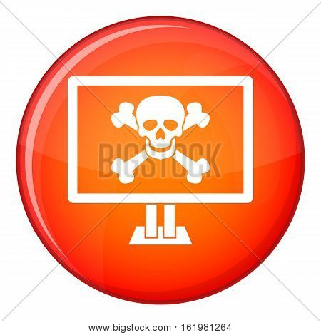 Computer monitor with a skull and bones icon in red circle isolated on white background vector illustration