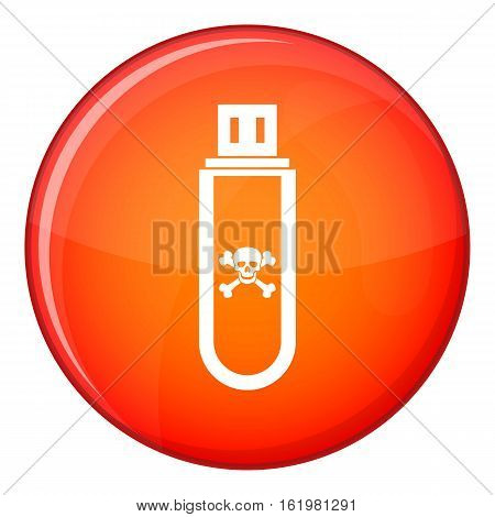 Infected USB flash drive icon in red circle isolated on white background vector illustration