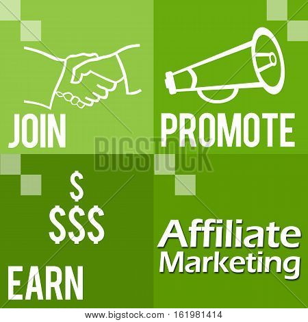 Affiliate Marketing Image with four green blocks and related symbols.