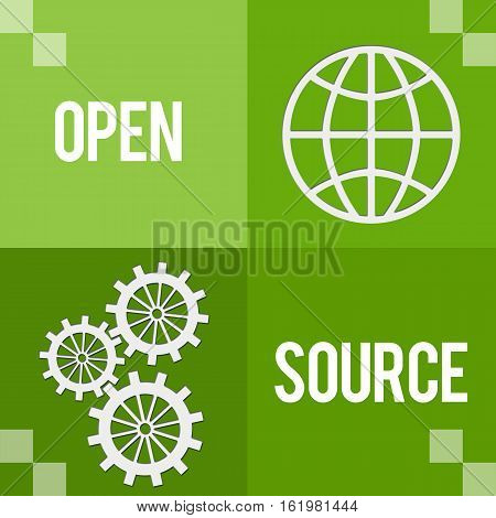 Open source concept image with text and related symbols.