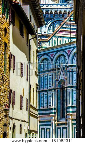 ARTSY VIEW OF DIFFERING ARCHITECTURE IN FLORENCE ITALY