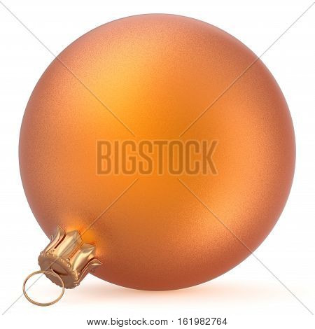 Christmas ball wintertime ornament orange New Year's Eve hanging shiny sphere decoration adornment bauble souvenir golden. Traditional happy winter holiday Merry Xmas symbol. 3d render illustration
