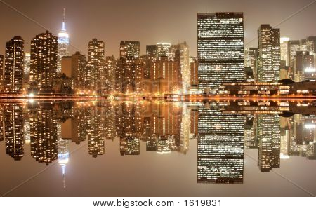 Midtown Manhattan Skyline At Night Lights