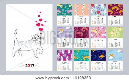 Vector calendar set for 2017 year with funny cat in contour style. Sunday start, English. Seamless background with cats, heart, wing, cloud, mouse. Creative print template with cute animals for kids.