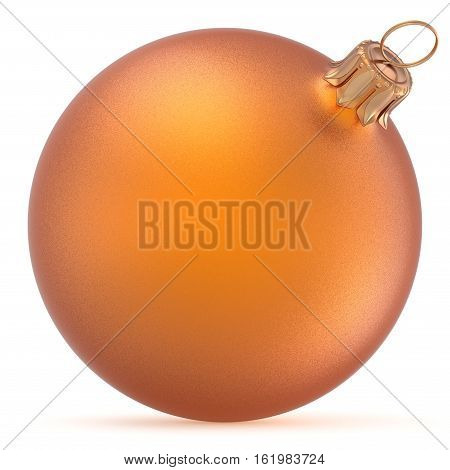 Christmas ball orange wintertime ornament New Year's Eve hanging shiny sphere decoration adornment bauble golden. Traditional happy winter holidays Merry Xmas symbol closeup. 3d rendering illustration