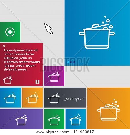 Pot Icon Sign. Buttons. Modern Interface Website Buttons With Cursor Pointer. Vector