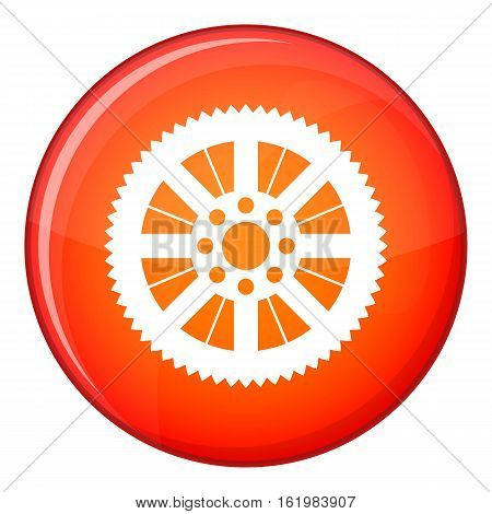 Sprocket from bike icon in red circle isolated on white background vector illustration