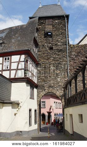 COCHEM, GERMANY - JUNE 19, 2014: Beautiful old buildings of the city of Cochem on June 19, 2014 in Germany