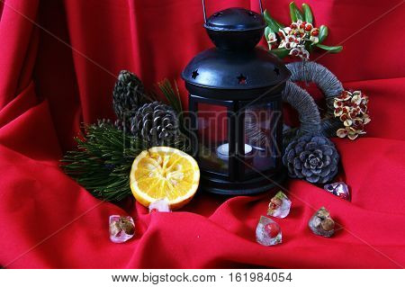 Christmas ornaments on a bright  red background