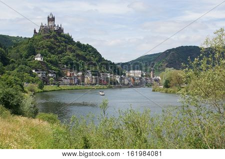 COCHEM, GERMANY - JUNE 19, 2014: View to the city and castle of Cochem on June 19, 2014 in Germany