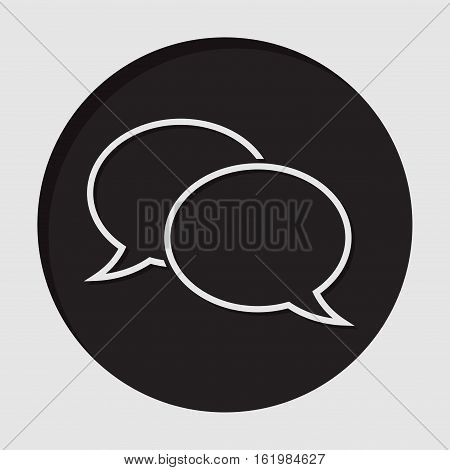 information icon - black circle with white outline speech bubbles and shadow
