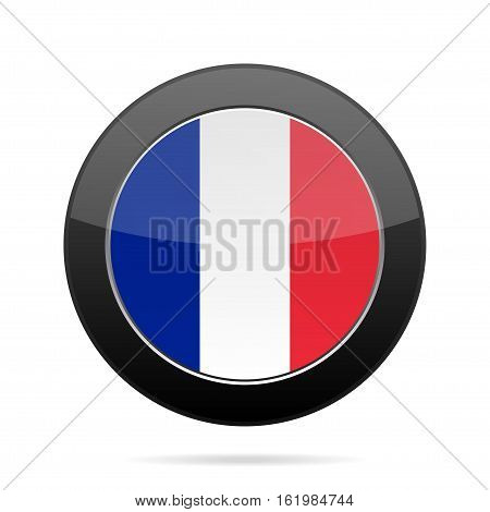 National flag of France. Shiny black round button with shadow.