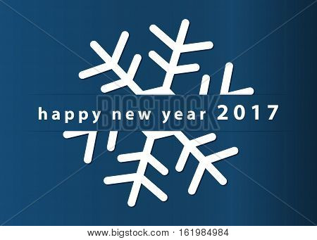 New year wishes - standard usa greeting card 5 x 7 inches. White snowflake with text on a blue background.