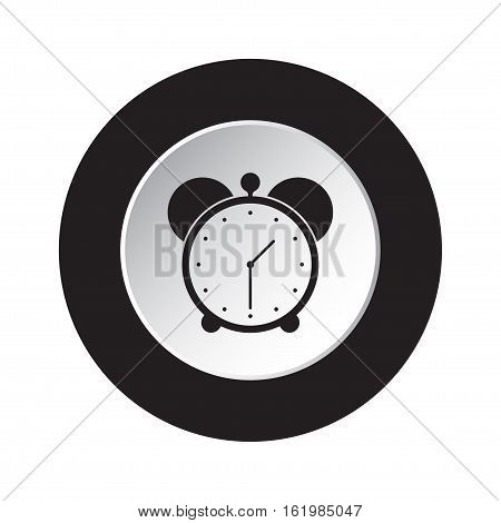 isolated round black and white button with black alarm clock icon
