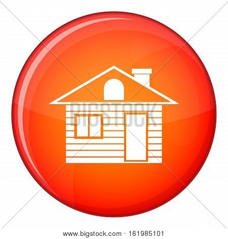 Wooden log house icon in red circle isolated on white background vector illustration