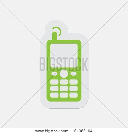 simple green icon with light gray contour and shadow - old mobile phone with antenna and signal on a white background