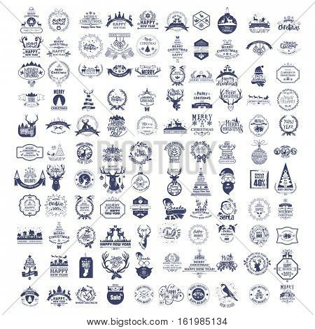 Collection of vintage retro labels, stamps and badges. Vector Illustration. Christmas and New Year decoration of calligraphic and typographic design with labels, symbols And icons elements. Set Of 100