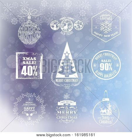 Collection of vintage retro labels, stamps and badges. Vector Illustration. Christmas And New Year Decoration Set Of Calligraphic And Typographic Design With Labels, Symbols And Icons Elements