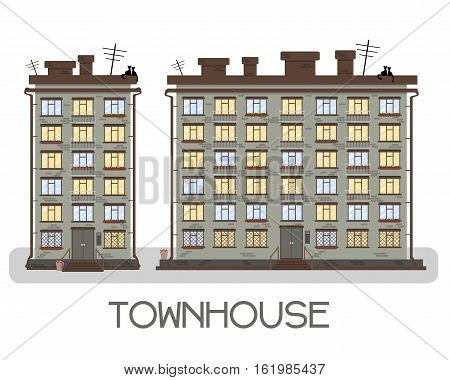 Townhouse On A White Background. With Balconies And Boxes Of Flowers.