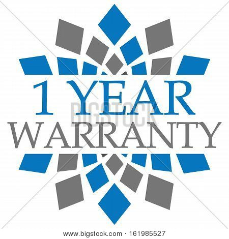 One year warranty concept image with text over grey blue background.