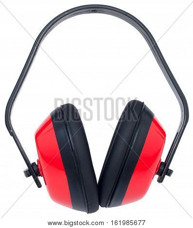 Hearing protection yellow ear muffs (with clipping paths)
