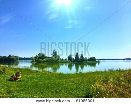 Awesome sunny day in the Fussen Lake in Germany .
