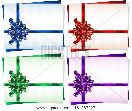 Bow with a ribbon on a gift card frame; Vector set Eps10; Bow-knot version D